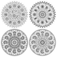 mehndi flower decorative ornament in ethnic oriental style, doodle ornament, outline hand draw. coloring book page. vector