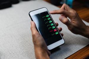 Gráfico de inversión empresarial de forex en la pantalla del teléfono móvil foto