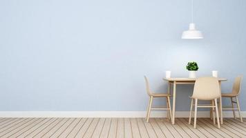 Restaurante o cafetería en diseño de pared azul. foto