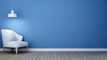 Salón tono azul en apartamento o casa. foto
