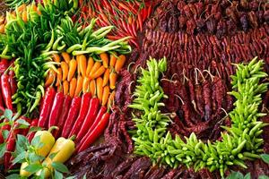 Colorful patterns of peppers for cooking. photo