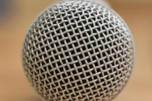 Close-up view of a modern microphone photo