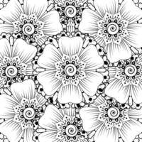 Outline square flower pattern in mehndi style for coloring book page vector