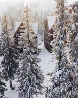 Aerial view of hotel building at ski resort photo