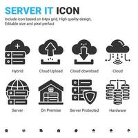 Server IT and technology icon set. Editable size. With glyph style on isolated white background. Server IT icon set contains such icons as cloud, hybrid, server, hardware, database and on premise vector