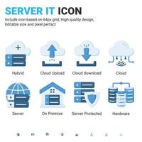 Server IT and technology icon set. Editable size. With flat color style on isolated white background. Server IT icon set contains such icons as cloud, hybrid, server, hardware, on premise and other vector