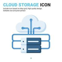 Cloud storage icon vector with flat color style isolated on white background. Vector illustration data server sign symbol icon concept for digital IT, logo, industry, technology, apps, web and project
