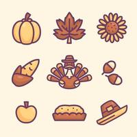 Set of Thanksgiving Icon vector
