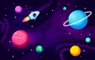 Rocket Ship In The Galaxy vector