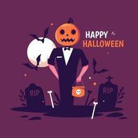 People Wearing Pumpkin Costume For Halloween vector