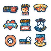 Pet Adoption Cute Doodle Sticker Set vector