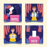 elecciones generales de estados unidos redes sociales vector