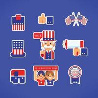 Conjunto de pegatinas de voto y elecciones. vector