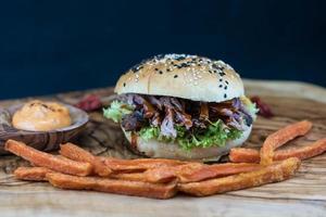 Pulled pork sandwich photo
