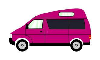 furgoneta camper de aventura rosa mini casa sobre ruedas vector