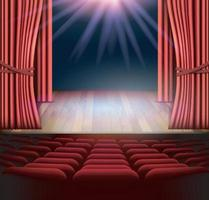 Act drape with red curtains. vector