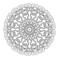 Black and white mandala with floral pattern. Coloring page. vector