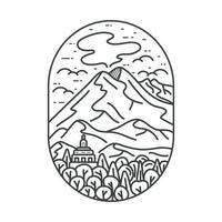exterior. monoline de montaña. arte lineal. diseño de ilustración. para las necesidades de impresión de mercancías, prendas de vestir y prendas de vestir vector