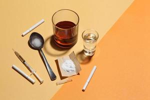 Cocaine in paper and equipment on color background, Background from cocaine party photo