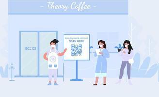cafetería certificado de vacuna covid-19 escaneo de código qr vector