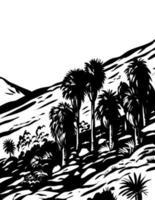 Fortynine palms oasis trail en el parque nacional joshua tree california usa wpa xilografía arte en blanco y negro vector