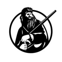 American Mountain Man Frontiersman Explorer or Trapper With Rifle Circle Mascot vector