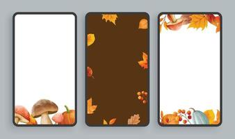 Autumn mobile screen background. Abstract smartphone background template watercolor style. vector