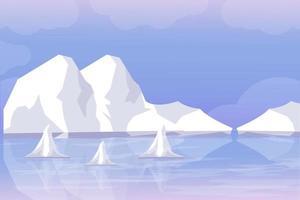 glaciares derretidos, trozos de glaciares debido al calentamiento global. vector de ilustración de fondo