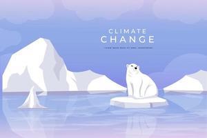 diseño vectorial cambio climático, ilustración del calentamiento global con el derretimiento de los glaciares y el oso polar atrapado en trozos de glaciares vector