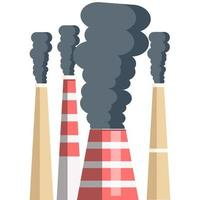 flat design factory chimney who cause global warming vector