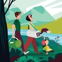 Family Travel Together In Nature Landscape Concept vector