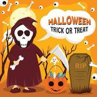 Halloween Costume Party of Kid Wearing Grim Reaper vector