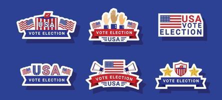 colección de pegatinas de elecciones generales de EE. UU. vector