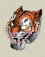 tiger old school tattoo vector