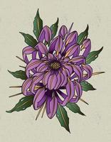 tatuaje de crisantemo de la vieja escuela vector