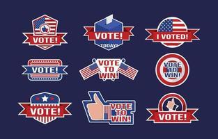 Conjunto de pegatinas para las elecciones generales de EE. UU. vector