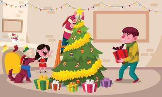 Family Decorating Christmas Tree Together vector