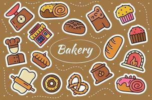 Bakery Related Stickers Set. Vector illustration.