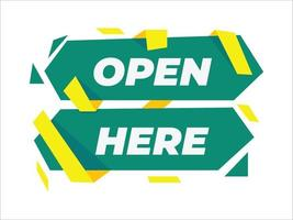 abrir aquí, abrir ahora plantilla de banner, abrir ahora, publicidad, promoción vector