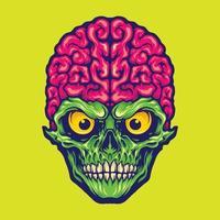 Our Brains Skull Mascot Logo Illustrations vector