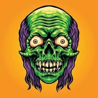 Scary Skull Zombie Mascot Illustrations vector