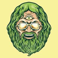 Vintage Head Cannabis Man Kush Illustrations vector