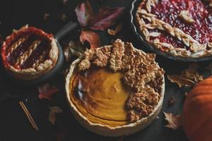 Traditional American pumpkin pie and apple pie, Thanksgiving day photo