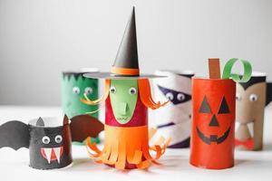 Halloween monsters from toilet paper rolls. Children's crafts photo