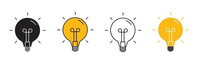 Creative Idea Line Icon. Lightbulb education, innovation logo collection set. Vector Illustration