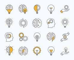 Brainstorm icons set. Artificial light, brain, lightbulb, creative, Development, knowledge, brainstorming, brainstorm solution. Vector Illustration