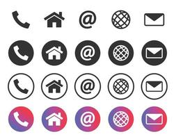 Contact icons, information symbols set. Call, home, address, mail and communication icons. Vector illustration