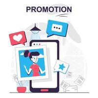 Promotion isolated cartoon concept. Digital marketing, online promotion in social networks, people scene in flat design. Vector illustration for blogging, website, mobile app, promotional materials.
