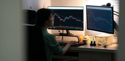 Asian businesswoman trading stock on computer photo