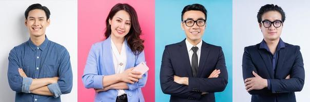 Photo collage of cheerful Asian businesspeople